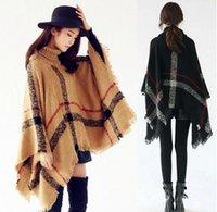 Wholesale New woman big girls classic plaid cloak High collar shawl Poncho fashion Loose plaid Bat shawl Scarves Wraps