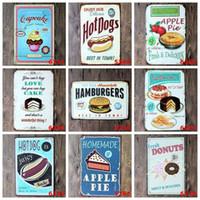 Wholesale 100pcs Vintage Metal Tin Sign Cake Dessert Hamburger Europe Retro Plaque Poster Bar Pub Club Wall Tavern Garage Home DecorZA1534
