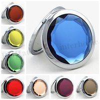 Wholesale Folding Makeup Compact Mirror Folded Crystal Metal Mirror Wedding Gift Cosmetic Pocket Hand Mirror Compact Mirror Cosmetic Mirror cm D322