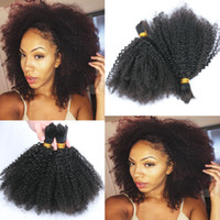 Wholesale Mongolian Afro Kinky Curly Bulk Hair A Grade Unprocessed Kinky Curly Human Hair Bulk For Braiding inch Natural Color