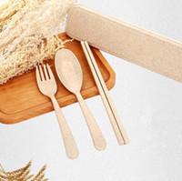 Wholesale hotsale natural ecofriendly kitchen dinnerware sets accessories portable food grade wheat straw chopsticks spoon fork set