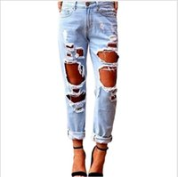 Wholesale Boyfriend hole ripped jeans women pants Cool denim vintage straight jeans for girl Mid waist casual pants female