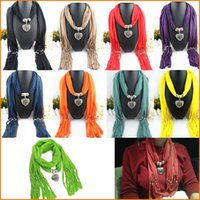 Wholesale Elegant Women Lady Jewellery Heart Alloy Hearts Necklace Pendant Scarf Lady Tassel Warm Scarves Shawls