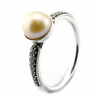 Wholesale 2016 Elegant Beauty Pearl Ring Sterling Silver Bead Fit Pandora Ring Fashion Jewelry DIY Charm Brand