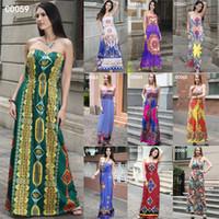 Wholesale Hot Women Summer Style Strapless Dresses Ladies Elegant Evening Party Sexy Slim Maxi Long Dress Boho Clothing
