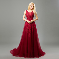 Wholesale 2017 New Cheap Long Prom Dresses Deep V Neck Tulle Lace Appliques with Pearls Formal Evening Party Dresses Royal Blue Burgundy Pink Silver