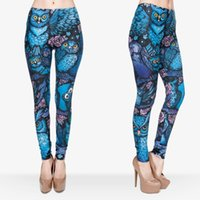 band leggings - Women Leggings Night Owl D Graphic Print Elastic Waist Band Yoga Skinny Trousers J30537