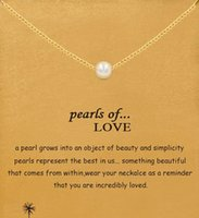 Wholesale With card Dogeared Necklace with pearls pendant pearls of love silver and gold noble and delicate no fade high quality