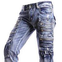 al por mayor diseñador de la marca jeansian-Venta al por mayor-Nueva Jeansian Brand Mens Diseñador Jeans Pantalones Pantalones Denim Azul J002