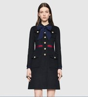 Wholesale Top Quality Winter Vogue Collection Luxury Brand Elegant Bow Knot Pearl Buckle Woolen Coat For Women