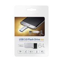 Wholesale USB OTG Drive DUO Memory GB GB GB for PC Galaxy S7 edge Real Capacity OTG external USB Flash Drive Memory Stick Metal