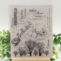 Wholesale DIY Merry Christmas Candle Tree Transparent Clear Stamps For ScrapbookingClear Silicone Stamp Decorative clear stamp sheets