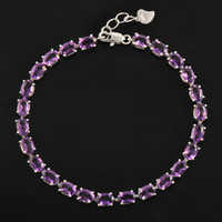 amethyst tennis bracelet sterling - Classic natural amethyst bracelet made by Solid Sterling Silver Vintage crystal bracelet for woman evening party jewelry