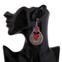 big ethnic earrings - Silver plated Gem Dangle Earrings Bohemian Big Metal Red Crystal Gypsy Ethnic Maxi Vintage Long Drop Earrings For Women Fashion Jewelry