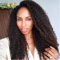 achat en gros de glueless de cheveux humains perruques malaysian-Cheap Kinky Curly Afro-américaine Perruque Glueless Malaisienne Vierge Remy Cheveux Humaine Afro Kinky Bouclée Pleine Perruque Perruques Pour Femmes Noires
