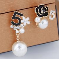 Wholesale Summer Sale Unique Brand Fashion Accessories Jewelry Crystal Pearl Rose Flowers Five Letter Pendant Asymmetry Drop Dangle Earrings For Women