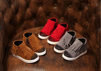 Wholesale Spring Autumn Winter child girl kid motorcycle Tassel Boot nubuck leather martin boots fringe flats shoes zip solid color short boots