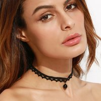 Wholesale 2016 Fashion Retro Pearl Inlay Choker Necklaces Charm Adjustable Pendants Necklaces for Women Black Lace Chokers