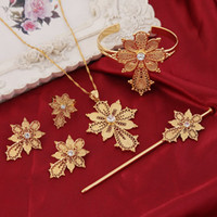 Wholesale New fashion France Germany Cross Jewelry Sets k Real Yellow Solid Gold GF CZ Fashion Stone Cross Breastpin Sets For Europe party gift