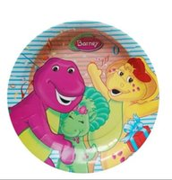 barney birthday - Plates Cartoon The Dinosaur Barney Friends Plates Kid Love Birthday Party Plate Decoration Gifts