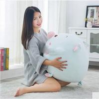 achat en gros de gros cochons en peluche-55cm X 50cm Lovely Soft Cartoon Pig Push Pillow Large Animal Pigs Peluche en peluche Cushion Christmas Present