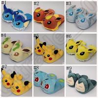 al por mayor zapatos zapatillas de felpa-Poke mon Go zapatillas de peluche suave Pikachu Gengar Snorlax caliente interior zapatos de dibujos animados traje regalo LJJO880