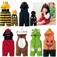 Wholesale Hooded Baby Rompers Cotton Kawaii Sleeveless Baby Costume Halloween Pumpkin Bee Shape Autumn and Summer Mamelucos Para Bebes