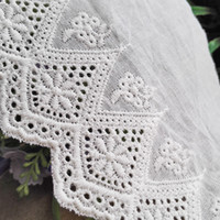 Wholesale Embroidery Cotton Lace Ribbon Crochet Trim Dresses Clothing DIY Fabric Eyelet Hollow out Cotton Lace Fabric