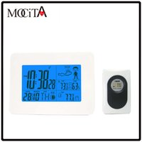 Wholesale MOCITA White Wireless Weather Station with Digital Alarm Clock Indoor Outdoor Temperature Humidity Remote Sensor for Home Office