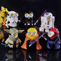 6pcs / set Minions Cos Star Wars Figurines méprisables 3 poupées Minions PVC Figure ACGN Brinquedos Anime 8 CM