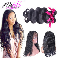 Wholesale 7A Malaysian virgin human hair body wave natural color lace frontal with bundles queen unprocessed hair by msjoli