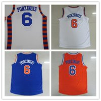 Wholesale 2016 Kristaps Porzingis Mens Jerseys Top quality Size S XXL Men Sport Jersey White Blue