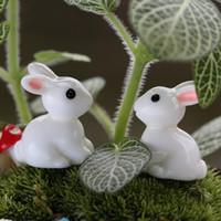 Wholesale 2pcs Figurine Fairy Garden Dollhouse Plant Ornament Decor Funny Mini Rabbit Craft Decor