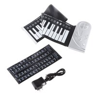49 main clé roulé de piano France-Vente en gros-Brand New Portable Flexible 49 touches électroniques Roll Up Soft Silicone Clavier piano main Music Organ Gift Plastic Panneau de contrôle