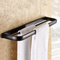bath shower hardware - Double Pole Bronze Bathroom Towel Clothes Rack Wall mounted Bathroom Towel Holder Bathroom Hardware Shower Room Accessories