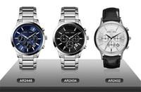 Reloj AR2432 AR2432 AR2448 del e-Paquete de la manera de la marca de fábrica del lujo de la CALIDAD SUPERIOR Reloj AR2448 de la fecha del día del dial del acero inoxidable de los hombres AR2448