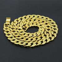 24K or jaune Plaqué chaîne de frein cubaine solide Hip Hop Iced Out collier long bijoux de mode Vente en gros