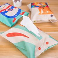 Wholesale High grade cute fashion creative cartoons cotton linen plush towels Desktop car tissue box napkin holder paper holder storage bag