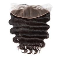 La mejor calidad 13x4 encaje cerraduras frontales 100% sin procesar brasileña onda del cuerpo humano pelo barato frontales de encaje parte libre con nudos blanqueados