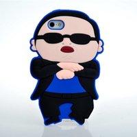 al por mayor caso del iphone psy-Caso para la cubierta trasera de la piel del patrón del estilo PSY de iphone 4/5 Gangnam Protector de la cáscara del teléfono de la historieta del silicón