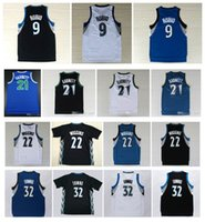 Wholesale Top Quality Karl Anthony Towns Jerseys Ricky Rubio Andrew Wiggins Kevin Garnett Throwback Jerseys Blue Black Swingman Shirt