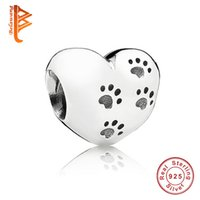Wholesale Original Sterling Silver My Sweet Pet Paw Print Charm Fit Pandora Bracelet Necklace Heart Bead Accessories Jewelry Making
