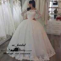 Wholesale Illusion Bodice Lace Wedding Dresses With Gorgeous Long Sleeve Ball Gown Bridal Gowns Zipper Up vestidos de noiva Cheap Sale