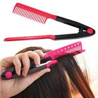 Precio de Salones para alisar el cabello-DIY Clamping Design Peinado de peluquería de plástico Salon Hairdress Peine peine único se utiliza para el estilo o enderezar el cabello
