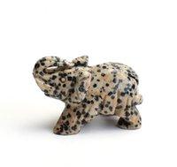2.0 POUCES Pierre Dalmation naturelle en pierre sculptée en cristal Statue d'éléphant guérisseuse Reiki avec une poche en velours