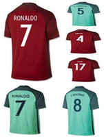 Wholesale AAA Thailand Quality National Portugal Home Away Red Green Soccer Football Jerseys Sport Shirt Pepe Ronaldo Nani