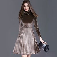 arrival turtles - New Arrival Spring Women s High Collar Long Sleeves Pleated Elegant Velour Dresses