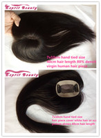 achat en gros de des morceaux de cheveux pour les hommes-20-40Hair Longueur Virgin Remy Humain Pieces FemmesMen's Lace Closure toupee pour chauve ou cicatrice 7x10cm 2Clips avec Pu Edge cheveux remplacement