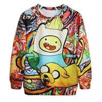 Wholesale Hot punk digital printing Star sweater cartoon adventure moments tie dye loose Korean sweater coat SJMD07