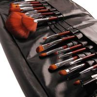 animal hair brush - handle bike Natural Animal Hair makeup brush set sleek Luxury Rosewood Handle With pockets Paintbrushes pincel maquiagem Make Up Bag